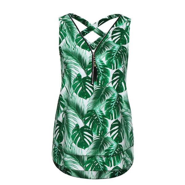 Summer Tank Top For Women Cross Back Sleeveless Vest Lady Green Leaf Printed Zipper V-Neck Casual Tops Blouse #10