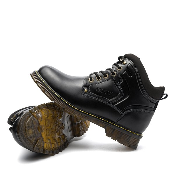 Compre 2019 2018 Botas Casual De Cuero Para Hombre Otoño Invierno Estilo Vintage Hombres Impermeable Trabajo En El Exterior Herramientas Casual