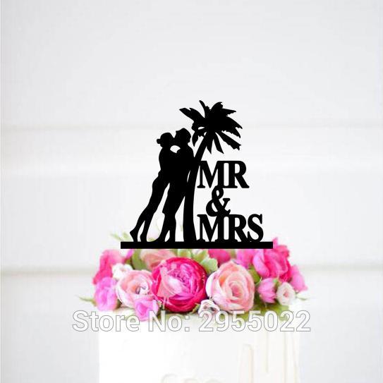 M. Mme Wedding Cake Topper, Cake Topper mariage personnalisé Palmier, gâteau de mariage tropical