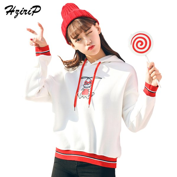 HziriP Cartoon Pattern Rabbit Ears Hooded Sweatshirt Girls 2018 College Wind Cute Casual Long Sleeve Loose Plus Velvet Hoodies