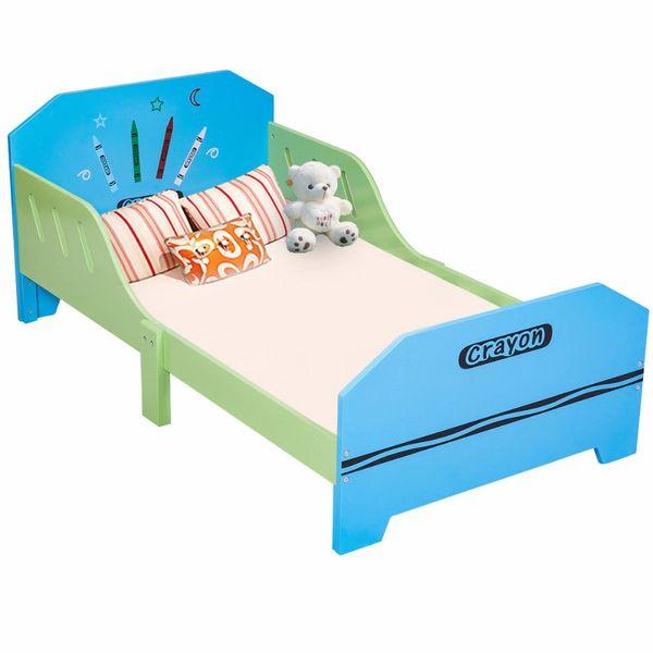 Großhandel Hölzernes Giantex Zeichenstift Themenorientiertes Hölzernes  Kinderbett Mit Bettgittern Für Kleinkinder Und Kinder Bunte Schlafzimmer  Möbel ...