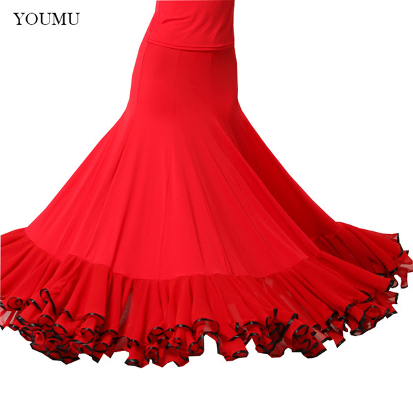 women modern social dance skirt floor-length high waist black red vintage fashion perform show skirts hemlinen 803-268