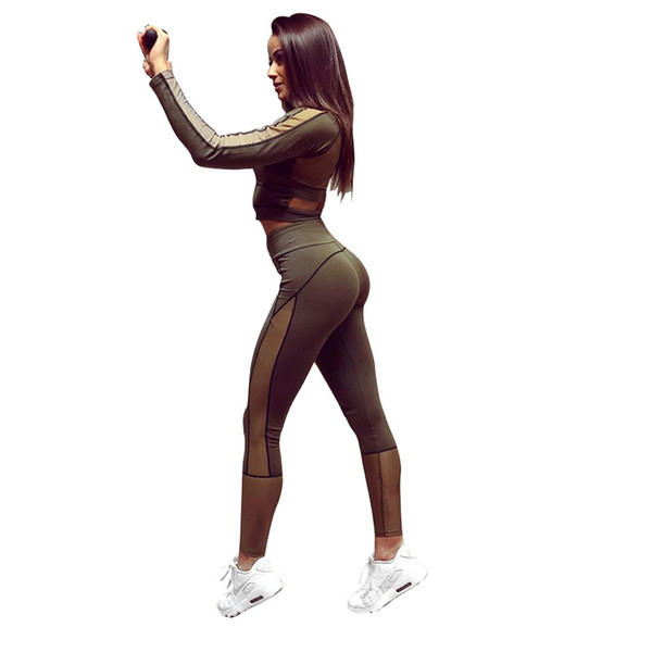 Sportswear Yoga Set Long Sleeve Crop Tops Mesh Patchwork Elastic Leggings 2 Pieces Set Summer Autumn Women Fashion Casual Sets