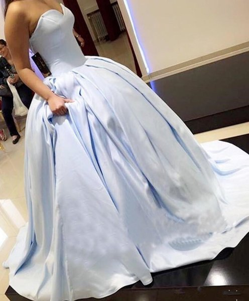 Light Blue Ball Gown Quinceanera Dresses 2019 Ruched Corset Lace up Back Sweep Train Strapless Simple Satin Custom Made Sweet 16 Dresses