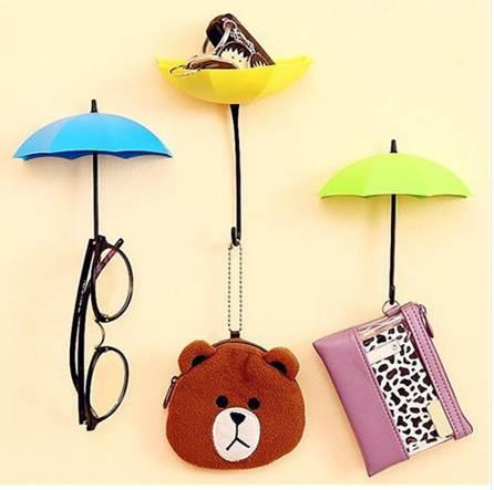 3Pcs Colorful Umbrella Wall Hook Key Hair Pin Holder Organizer Holder Wall Hook Hanger HOT Room Decorative