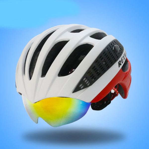 2018 Integrated Molding Bicycle Helmet with Glasses Cycling Road Bike MTB Fix Gear Three Color Pairs of Lenses Riding Helmet