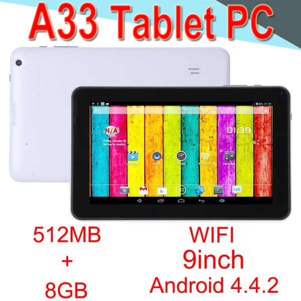 A33 9 pulgadas Tablet PC Capacitancia Quad Core Android-4.4 Cámara dual 8GB RAM 512MB ROM WIFI Bluetooth 3G EPAD Facebook Google EXCTA33 Minorista