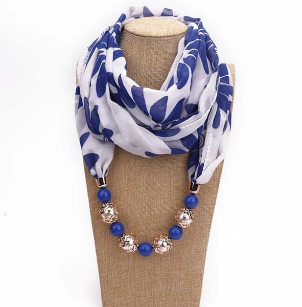 New Pendant Scarf Necklace Bohemia Necklaces For Women Chiffon Scarves Pendant Jewelry Wrap Foulard Female Accessories GA368