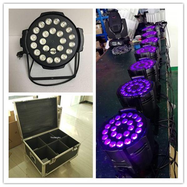 6 piezas con flightcase 24x18w 6in1 RGBWAUV led par light stage led par light 6in1 indoor led par latas
