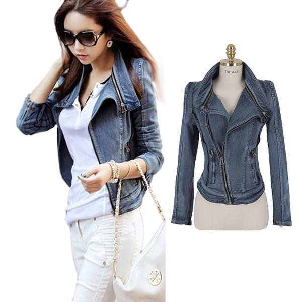 Fashion 2018 Womens Vintage Jean Slim Fit Lapel Zip Autumn Short Jacket Tops Coat Denim Outerwear Jeans Size S M L XL JK488