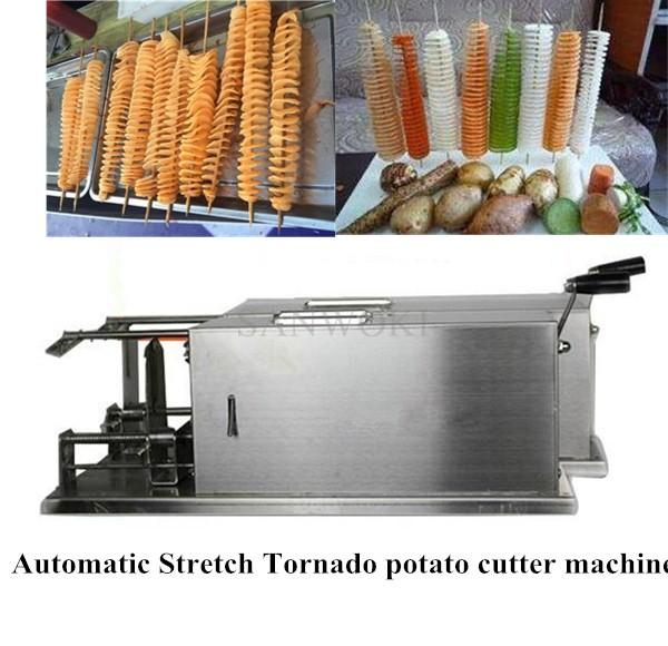 40MM Long Automatic Stretch Tornado Potato Machine; Spiral Potato Slicer Chips Cutter Machine;Vegetable Slicer