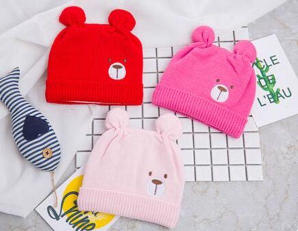 New Autumn Winter Infant Baby Cartoon Bear Hat Kids Knitted Cap Girls Boys Babies Warm Beanies Child Hats M190