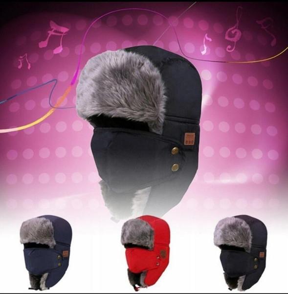 Bluetooth Trapper Hüte Warm Wireless Smart Cap Headset Anruf Musik Earflap Hut Headset Kopfhörer Lautsprecher Mützen Partyhüte 100pcs OOA5688