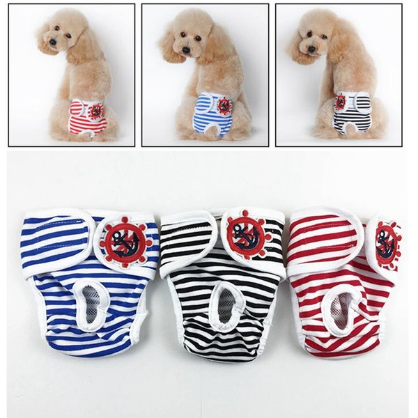 S-2XL Female Dog Striped Diaper Washable Reusable Cotton Pet Diaper Adjustable Physical Pant Sanitary Panties Anti Harassment Pants AAA1100