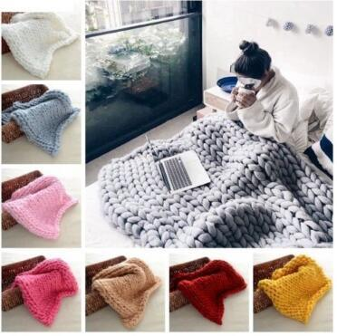 top popular 20 Colors 60*60cm Chunky Knit Blankets Merino Wool Handmade Blanket Sofa Air Condition Bed Weave Knitted Photography Blankets CCA8464 100pcs 2019