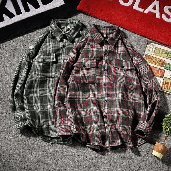 Nueva camisa a cuadros de manga larga de estilo de Hong Kong de los hombres de la versión coreana de la tendencia hermosa camisa suelta camisa salvaje