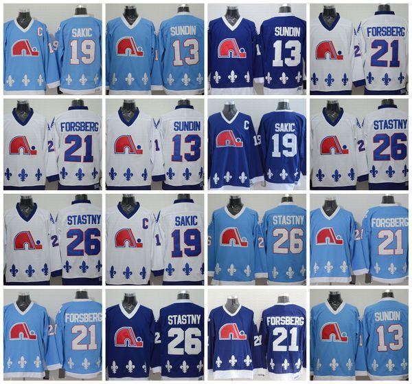 Quebec Nordiques 13 Mats Sundin 21 Peter Forsberg 26 Peter Stastny 19 Joe Sakic Hockey-Trikots Alle genäht