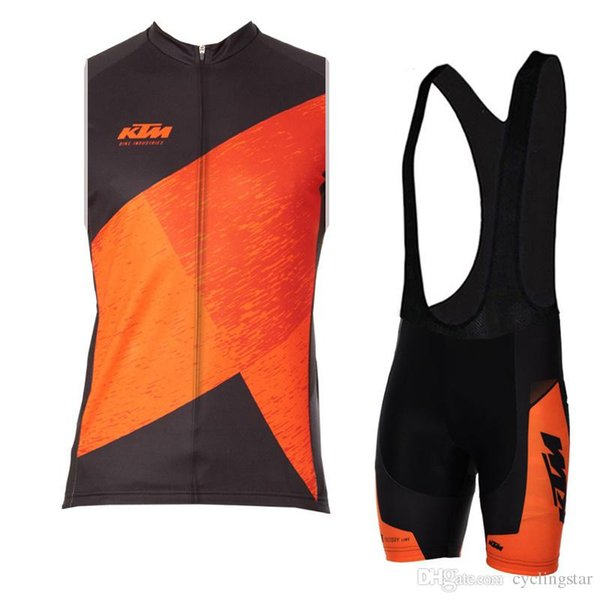 KTM 2017 Cycling jerseys set pro team sleeveless ropa ciclismo hombre cycling vest summer style quickdry mtb bike sportswear C0901