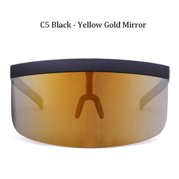 C5 Black Frame Yellow Gold Mirror