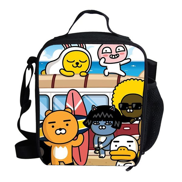 Cartoon Newest Korean Ryan Cocoa Thermal Insulated Lunch Bag for Girls Boys Kids Picnic Shoulder Bags For Snacks