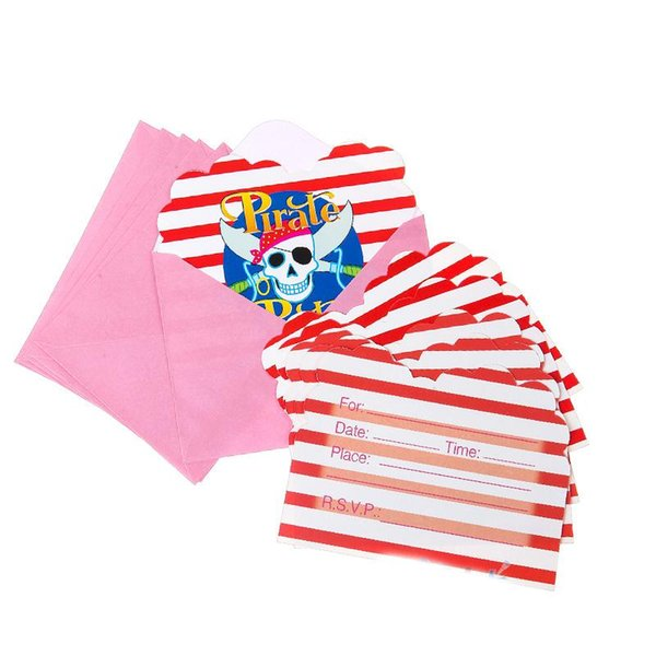 Wholesale- 6pcs/pack Pirate Party Happy Birthday Party Decoration Kids boy girl event Supplies Favors Invitation Cards