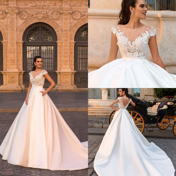 2018 encantadoras vestidos de novia de encaje escote en V V espalda vestido vestidos de novia de satén barrer tren tallas grandes vestidos de fiesta de la boda barato