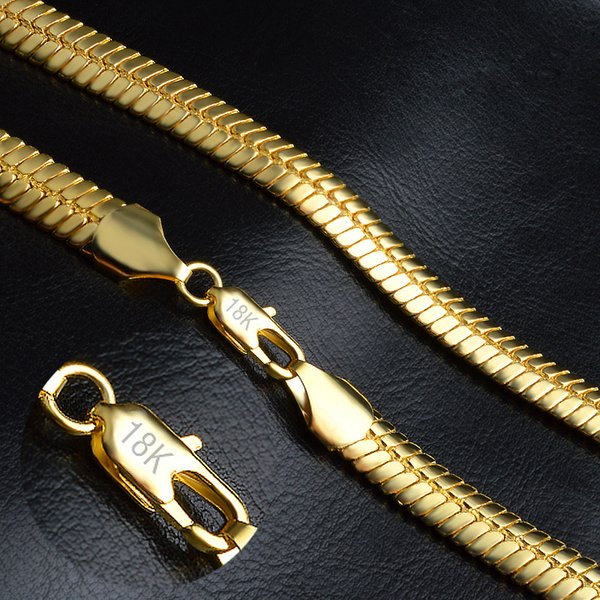 Mens Necklace Snake Chain Stamped 18K Gold Filled Necklace Choker Punk Hip Hop Chin Mens Jewelry Casual Retro Accessories 20 Inches