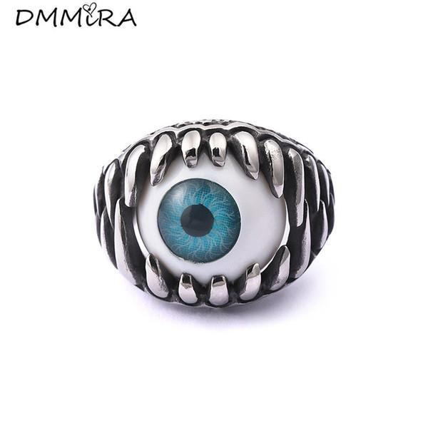 Fashion Europe Punk Men Retro Silver Black Gothic Rock Rings Stainless Steel Omnipotence Eyeball Blue Eye Rings Jewelry
