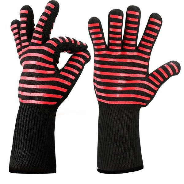 2pcs/lot Food Grade Heat Resistant Silicone Kitchen Barbecue Oven Glove Cooking Bbq Grill Glove Oven Mitt Baking Glove