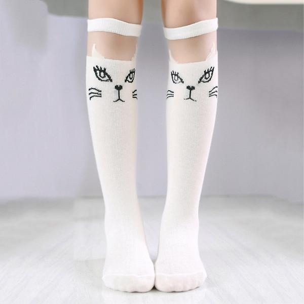 2018 Fashion Cute Cartoon Children Socks Lovely Cat For Baby Girls Children Knee High Socks Print Animal Long Over Knee