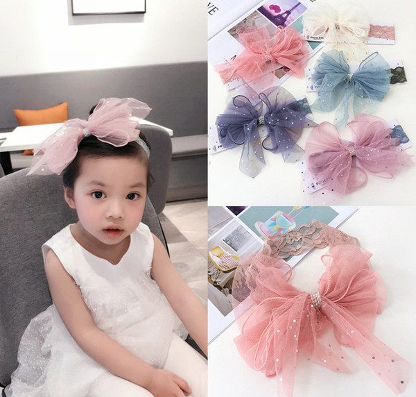 Girls sequins Bows princess headbands boutique kids multilayer lace gauze pearls Bows hairbands baby lace elastic hair accessories YA0285