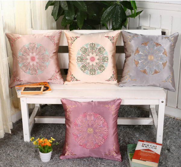 Vintage Embroidered Silks Fabrics Cushion Cover Decorative Pillowcase Chair Seat and Waist Square Pillow Cover Home Living