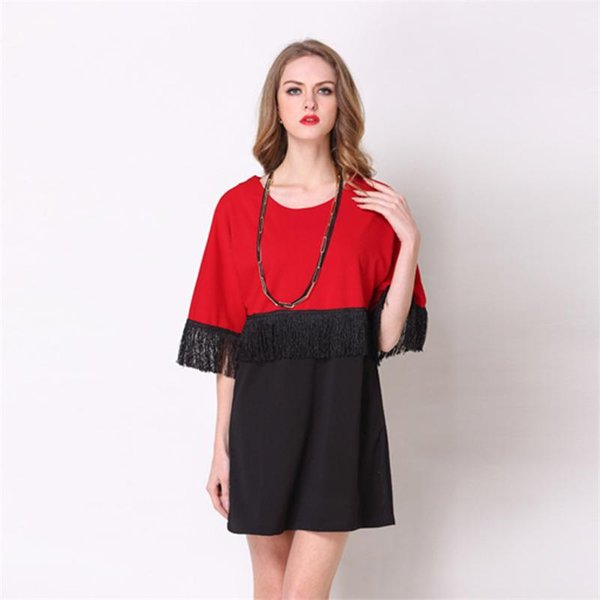 Bohemian Plus Size for Womens Dresses with O-neck Patchwork Tassel Dress Casual Loose Large Size Women Clothes XL-5XL Black Red