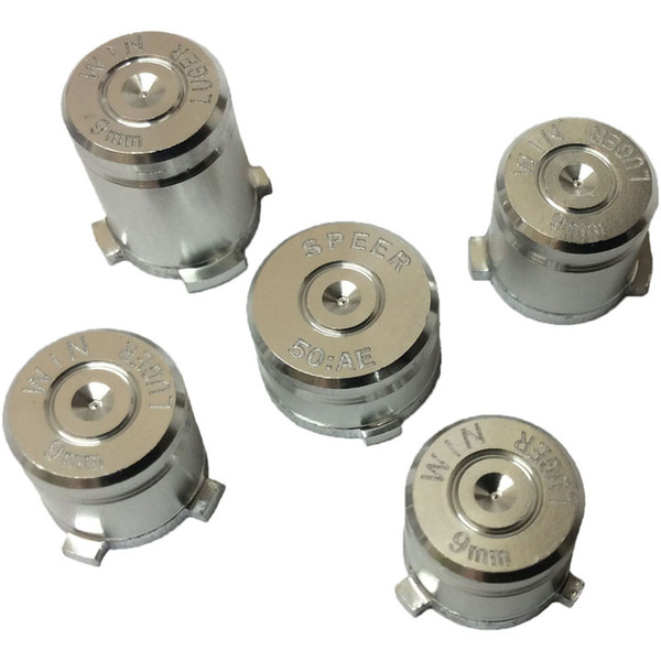 5pcs/set aluminium Metal Bullet Button 9mm Luger ABXY and Speer Guide Buttons set for xbox one controller High Quality FAST SHIP