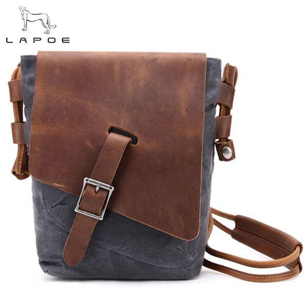 LAPOE New Vintage Crossbody Bag Bolsos de hombro de cuero de lona militar Hombres Messenger Bag Men Leather Maletín Viajes de ocio
