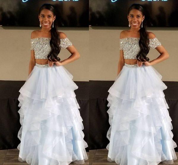2018 Brilliant Two Pieces Prom Dresses Bateau Off Shoulder Organza Floor Length Prom Gowns Evening Dresses