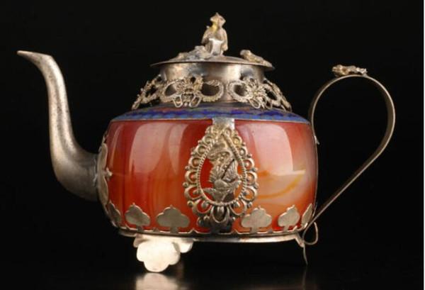 SUPER WEINLESE COLLECT ALTE DEKORATION EXQUISITE ACHAT CLOISONNE DRACHE TEEKANNE Garten Dekoration 100% echt tibetischen Silber Messing