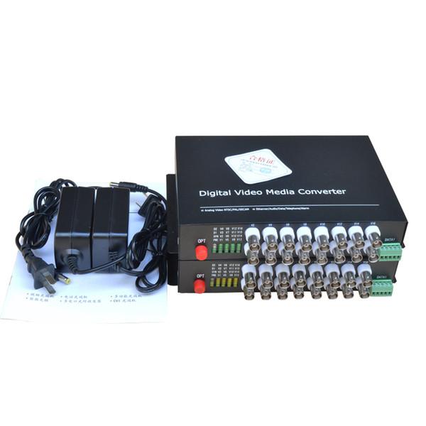 16 CH Video Fiber Optical Media Converters -16 BNC Transmitter Receiver RS485 Data Single mode 20Km For CCTV Surveillance system