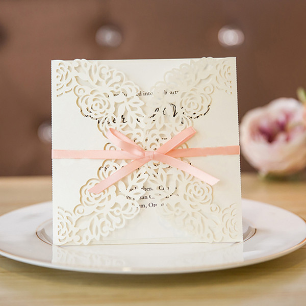 Compre Diseño Flor Rose Invitaciones De Patrón Para Boda Personalizar Papel Blanco Laser Cut Invitación Tarjetas Cintas De Color Rosa A 163 33 Del