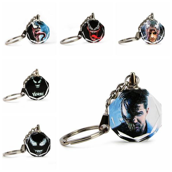 6 styles venin cristal porte-clés jouet mini spiderman porte-clés pendentif en métal halloween accessoires de Noël cadeau jeu accessoires jouets ffa980 50pcs