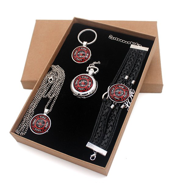 Fashion Fire Fighters Control Jewelry Gift Set Have Pocket Watch And Pendant Necklace And Key chain Bracelet With Gift Box