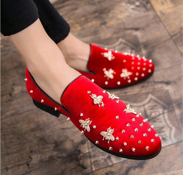 2019 British style Men casual Evening party dress shoes Glitter embroidery Homecoming Prom shoes loafers Sapato Social Masculino 38-46 MM179