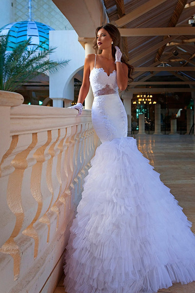 2018 New Style Beaded Tulle Pleat Tiered Sheath Spaghetti Straps Wedding Gowns Sexy Lace Backless Mermaid Wedding Dresses HY246