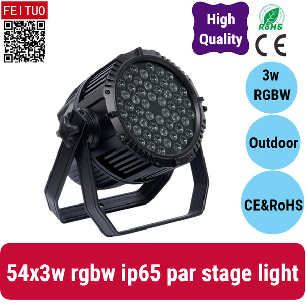 2x IP65 Waterproof 54*3W RGBW LED Par 64 Stage Lighting Wash Stage light DMX512 for TV studio, theater ,auditorium, stage, T-stage, concerts