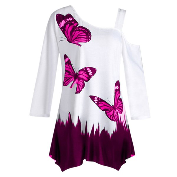 Women Butterfly Print Blouses One Shoulder Long Sleeve Tunic Tops Blouses plus size Women clothing Autumn ropa mujer verano 2018