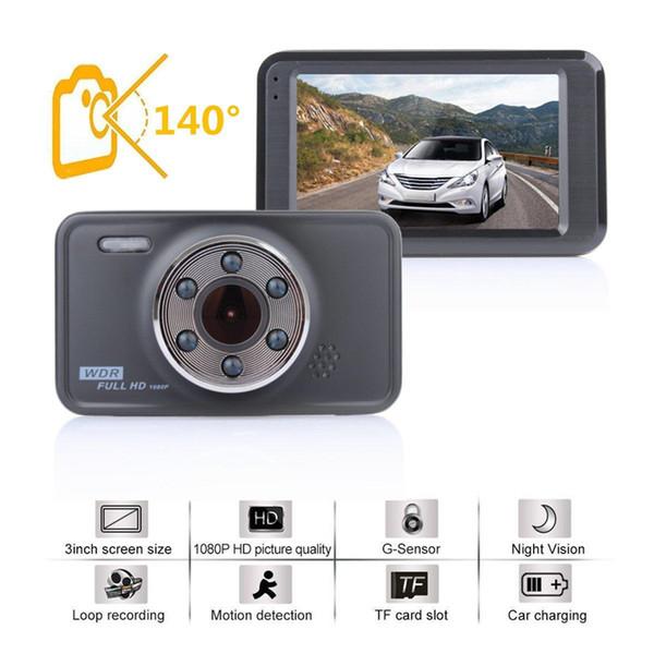 Full HD car DVR dashcam 1080P digital video camera vehicle driving camcorder 3 inch 140 degrees WDR night vision G-sensor loop recording