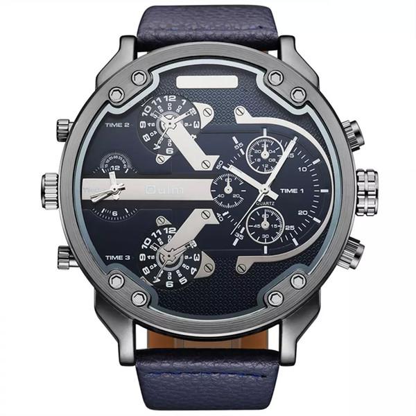 2017 Novos Homens Chegada Top Marca OULM 3548 Luxo Japão movt Quartz 2 Fuso Horário Relógios Casuais 5.5 cm Grande Relojes Hombre Relojes Hombre