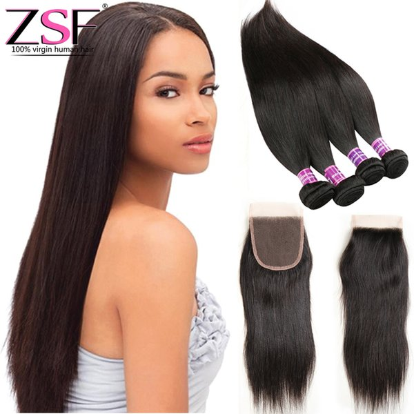 ZSF 8A Unprocessed Virgin Indian Human Hair Closure Best Quality 1PCS 4*4 Lace Closure With 4 Bundles Hair Weave Extensions Straight Hair