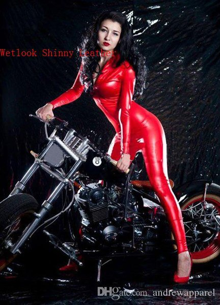 Sexy Red Faux Leather Catsuit Gothic Fetish Costume Women Fantasia Front Zipper Jumpsuit Pole Dance Costume Stretchy Leotard CA-0061