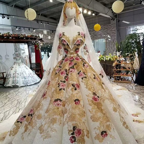 2019 Golden Flowers Evening Dresses Lace Off Shoulder Sweetheart Women Occasion Evening Party Dresses With Long Veil Girl Pageant Dress